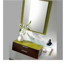 Flexi - Composizione mobile da ingresso con specchio, mobile e mensola in vetro