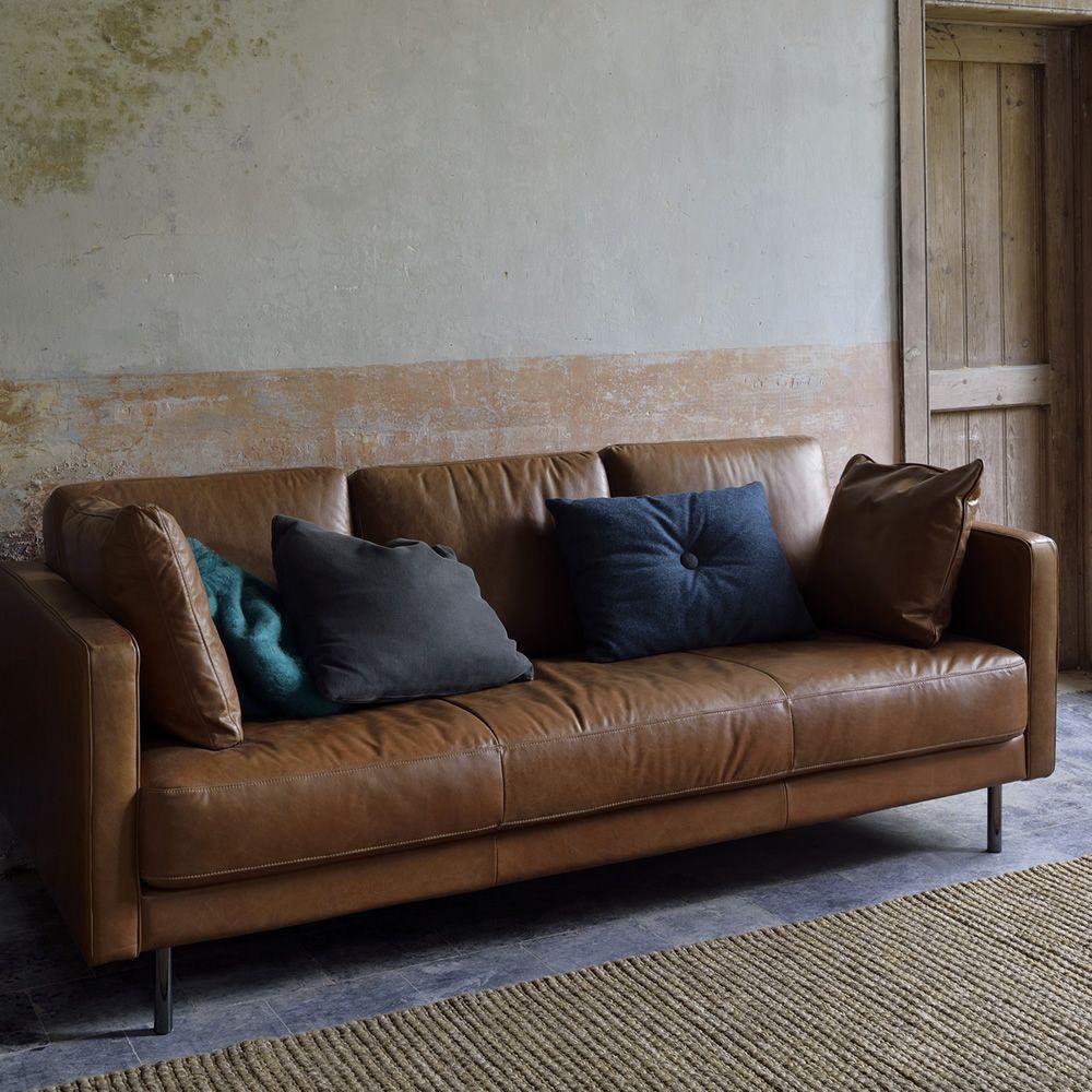 n501 divano ethnicraft a 3 posti imbottito e rivestito in pelle vintage sediarreda. Black Bedroom Furniture Sets. Home Design Ideas