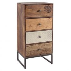 Abuja 4C - Vintage chest of drawers, made of wood with iron legs, with four drawers