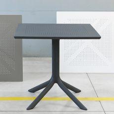 Clip - Tavolo in polipropilene, piano traforato, disponibile in diversi colori e misure, per giardino