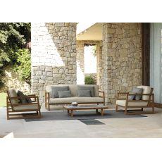 Alabama Set - Salon de jardin design comportant 1 canapé, 2 fauteuils et 1 table basse en bois d'Iroko