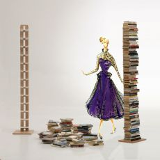 Zia Ortensia C - Libreria a colonna con mensole orizzontale, in legno massello, disponibile in diverse dimensioni e colori