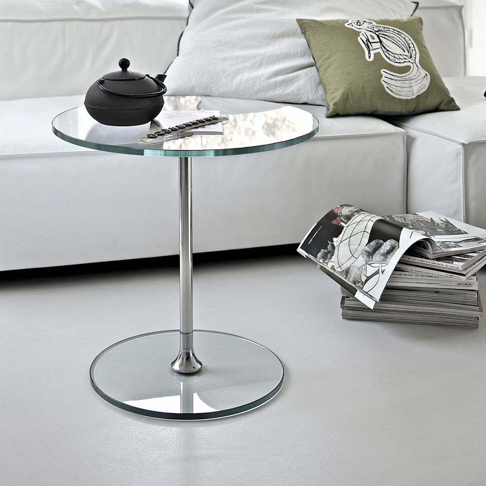 Sirt   Coffee Table In Chromed Metal, Transparent Glass Top