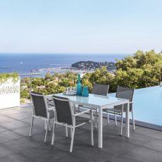 Maiorca T - Tavolo in alluminio con piano in vetro 152x90 cm, disponibile in diversi colori, anche per esterno