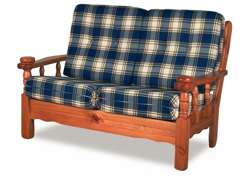 Tirolo Divano Letto - Divano letto rustico in legno con cuscini, a 2 o 3 posti - Sediarreda