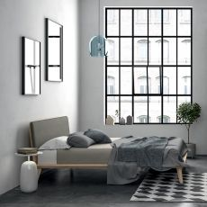 Charlie - Dall'Agnese double bed with wooden frame, padded headboard, different sizes and finishes available