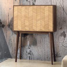 Mister - Mobile da soggiorno in legno, con anta a ribalta, mensole e cassetti