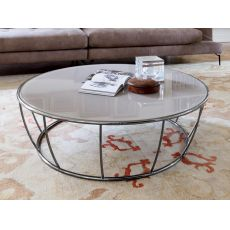 Amburgo 6287 - Tonin Casa round metal coffee table, glass top diameter 100 cm, several colours available