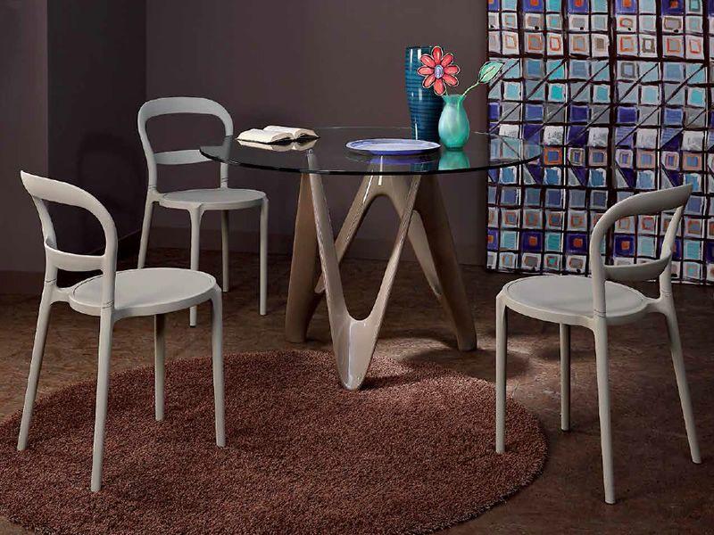vr24 table ronde en r sine avec plateau en verre diam tre 120 cm sediarreda. Black Bedroom Furniture Sets. Home Design Ideas