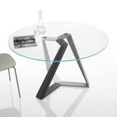 Millennium O - Tavolo rotondo di design di Bontempi Casa, fisso, diametro 130 cm, con basamento centrale in metallo e piano in vetro o legno, disponibile in diversi colori