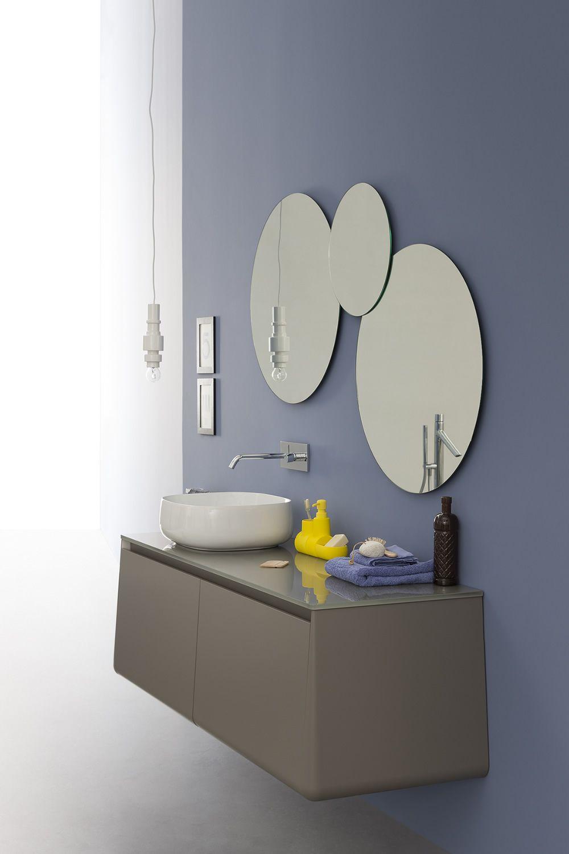 Campus c mueble de ba o suspendido con lavabo encimera - Muebles de bano con lavabo de cristal ...