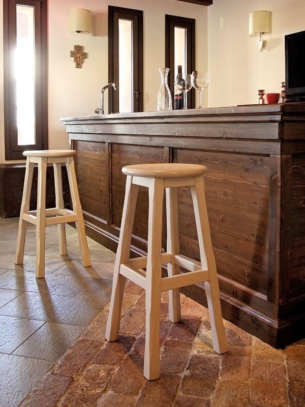 Bar taburete r stico en madera de fresno altura asiento for Taburete bar madera
