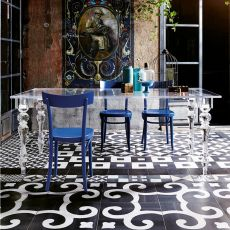 Oste - Table Colico design, fixed, in methacrylate, completely transparent, in different sizes, also for outdoors