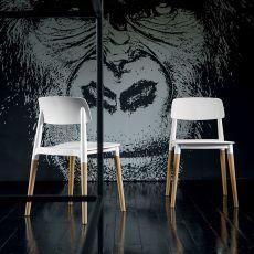 Ada - Silla apilable Dall'Agnese en madera, asiento y respaldo de polipropileno color blanco