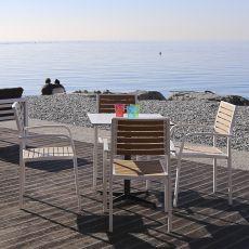 Pearl-T - Sedia impilabile con braccioli, in alluminio, seduta e schienale in eco-teak, diversi colori, per esterno
