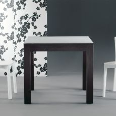 Kubo - Extendable table Colico Design, in wood with glass top, available square 85x85 cm or rectangular 130x85 cm