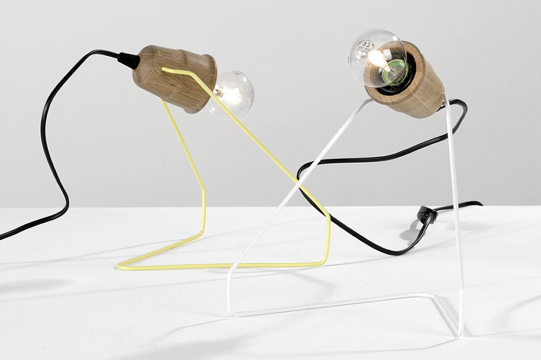 Wattman - Lampada da tavolo in metallo laccato giallo e bianco, con ...