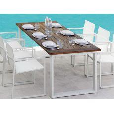 Essence - T - Tavolo in alluminio e teak, 220x92 cm, per giardino