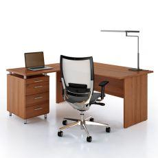 Idea Panel 01 - Scrivania per ufficio con penisola e cassettiera, in laminato, disponibile in diverse dimensioni e finiture