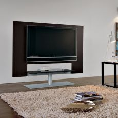 7094 - Tonin Casa adjustable TV stand made of veneered wood and metal, with black glass shelf, two different sizes available