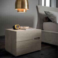 Asola-N - Mesita de noche Dall'Agnese en madera, disponible en distintos acabados, dos cajones