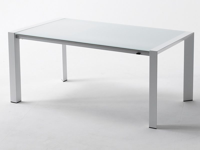 Rig57 Table En Aluminium Avec Plateau En Verre Pour