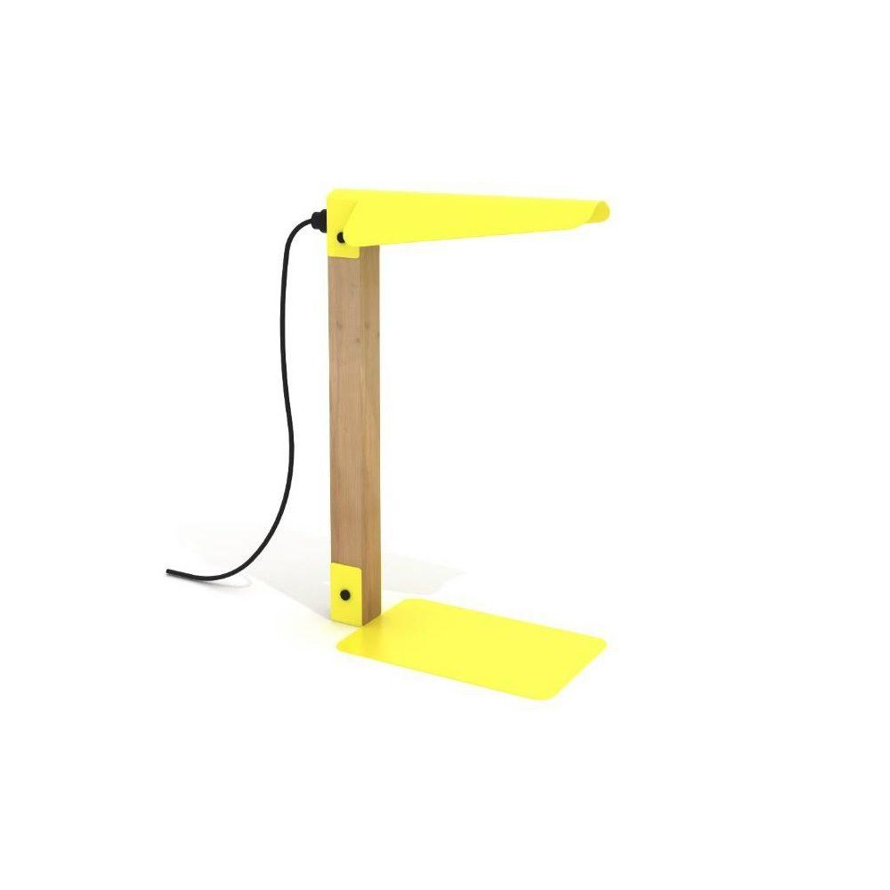 Merlin - Lampada da tavolo in metallo laccato giallo e legno di rovere ...