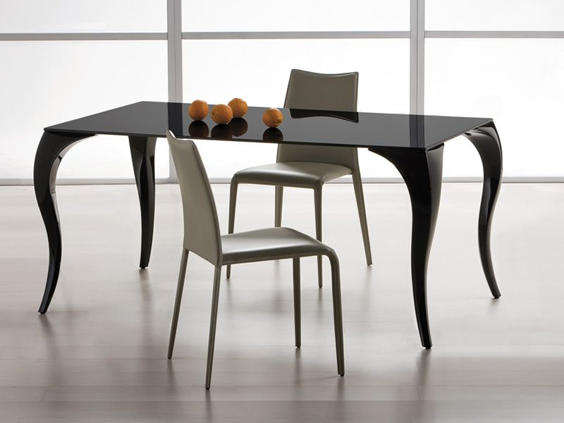 Bond tavolo fisso midj in policarbonato con piano vetro - Tavolo in vetro nero ...