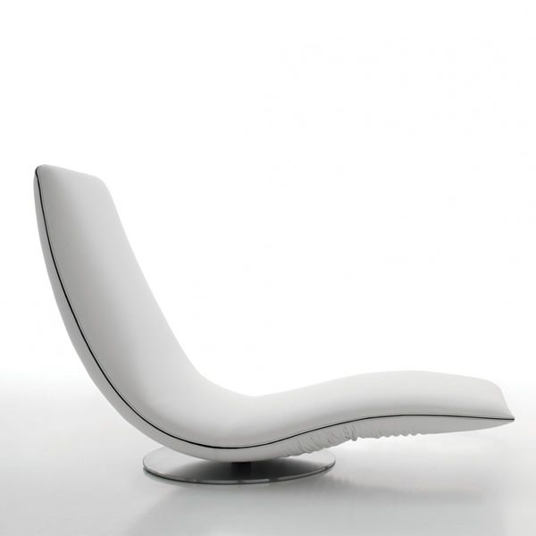 Ricciolo 7865 | Poltrona-chaise longue rivestita in pelle, similpelle o tessuto