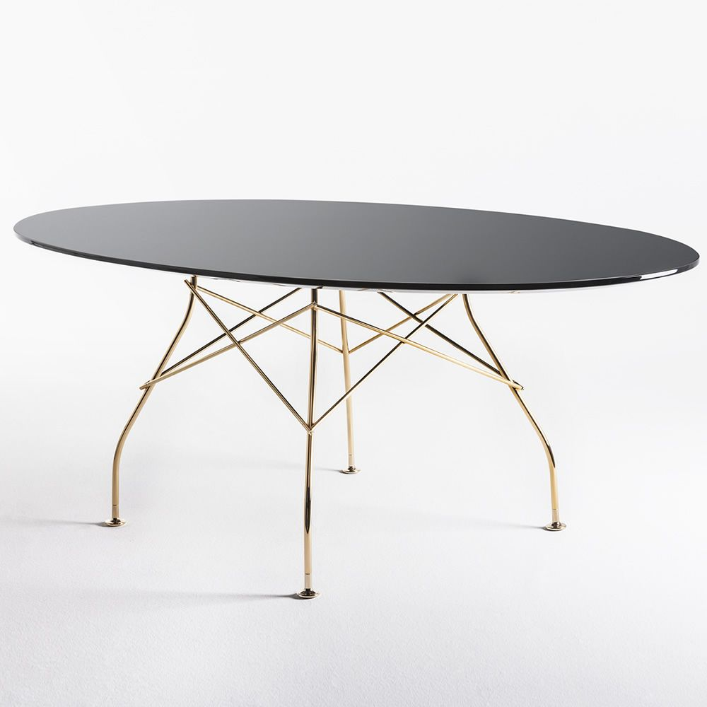 Glossy kartell design metal table oval top in mdf for Table exterieur kartell