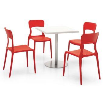 716 outdoor tavolo in metallo con piano in nobilitato for Sedie struttura acciaio satinato