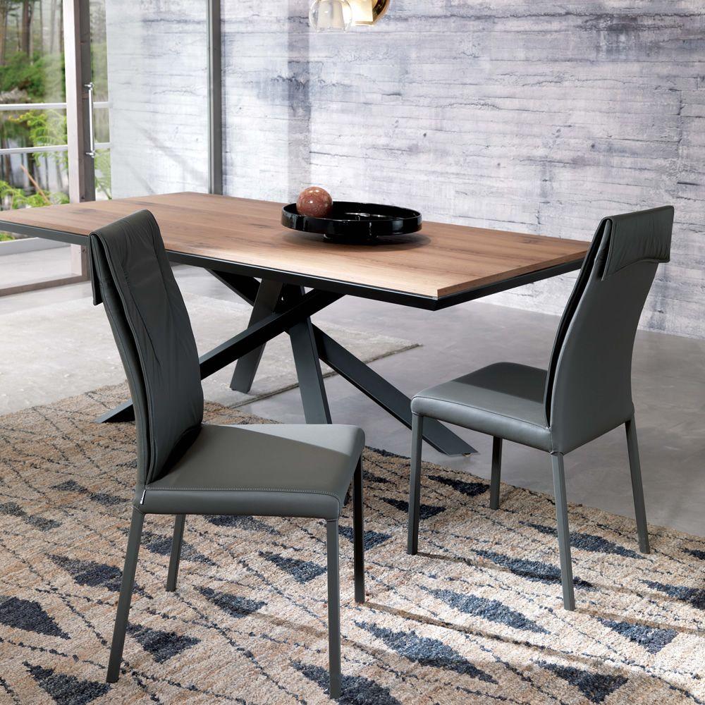 Luxy sedia moderna in metallo rivestita in pelle - Rivestimento tavolo ...