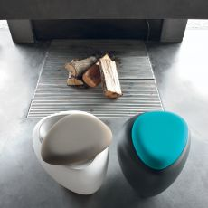 8191-PF Ios - Tonin Casa pouf made of polyethylene, padded seat in several colour