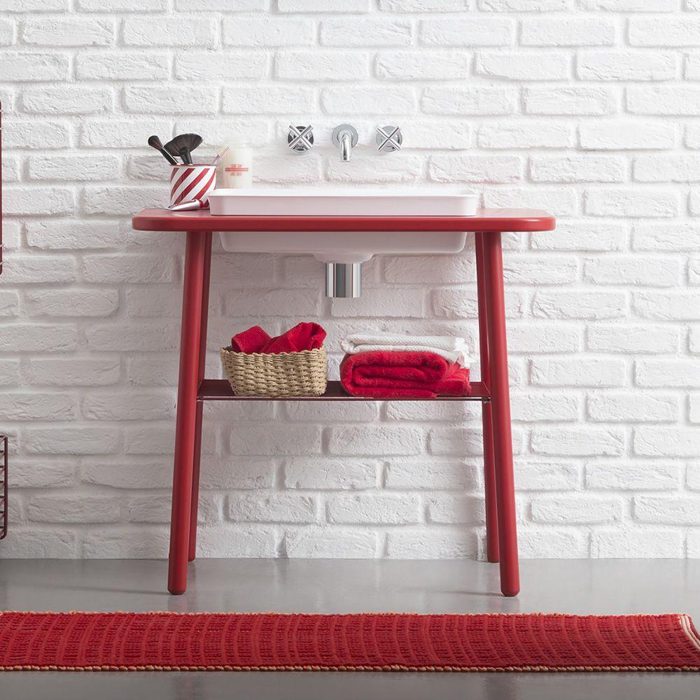 Acqua e Sapone | Mobile bagno in rosso rubino opaco