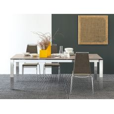 CB4010 160 Baron C - Connubia - Calligaris metal table, different tops available, 160 x 85 cm extendable