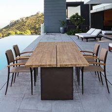 Tago - Tavolo in ferro, piano in teak 260x100 cm, anche per esterno
