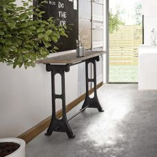 Accra Consolle - Consolle Urban Style, in metallo con piano in legno d'acacia intarsiato, 30x60 cm