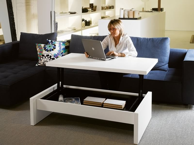 Tritone tavolino da salotto trasformabile in scrivania diverse finiture sediarreda - Scrivanie da soggiorno ...