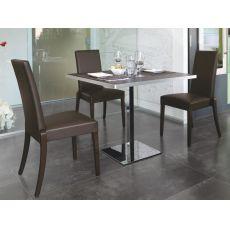 716 - Tavolo in metallo, piano quadrato 70 x 70 cm