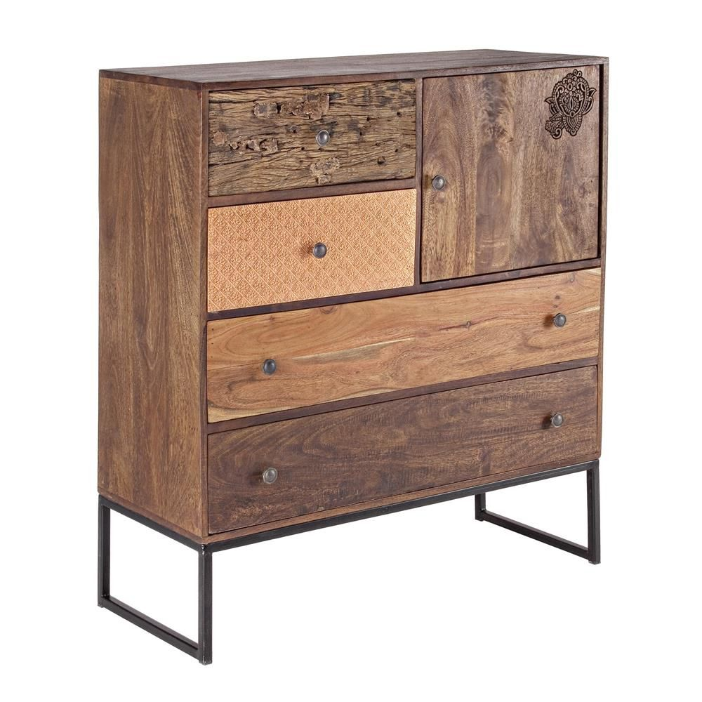 Abuja 1a 4c mobile vintage per soggiorno in legno con for Soggiorno legno