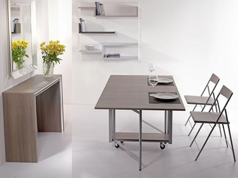 Archimede set set consolle con tavolo pieghevole 170 x 90 cm e 6 sedie diversi colori - Tavolo pieghevole con sedie a scomparsa ...
