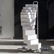Spinny - Cassettiera di design B-Line, in acciaio con cassetti in ABS, da fissare a parete o con rotelle, disponibile in diversi colori