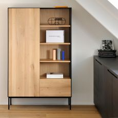 Blackbird-B - Ethnicraft storage cupboard - bookcase made of wood, with doors, drawers and shelves