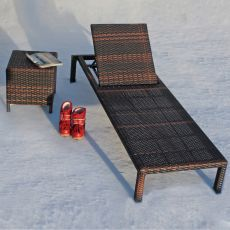 Sam - Sun bed for oudoor in aluminium and imitation rattan, stackable, different colours
