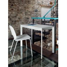 Mondo - Domitalia metal console, glass top, 100 x 50 cm extendable