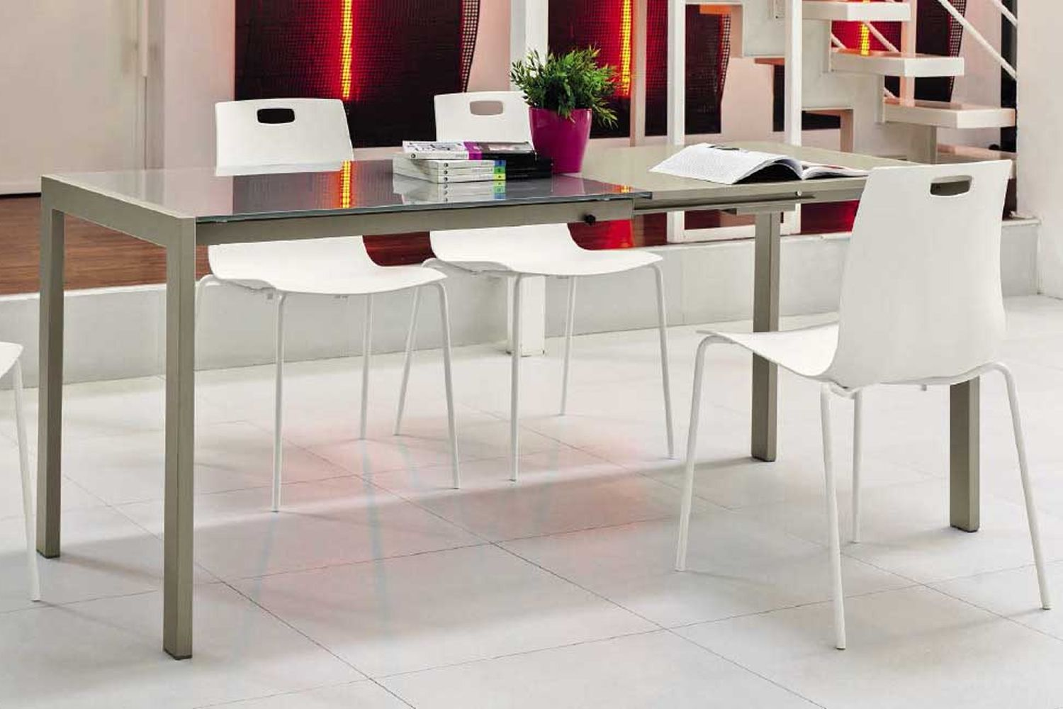 ... Chicago 42.23   Extendable Table, Square 80x80 Cm, In Metal, With Top In