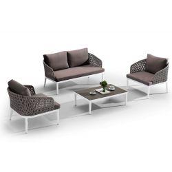 Carmen set para exteriores en aluminio con cordones for Sofa exterior aluminio blanco