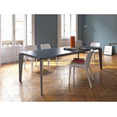 Akil - Table Midj en métal, plateau en mélamine, MDF, verre ou crystal céramique, en différentes finitions, 140 x 90 cm à rallonge