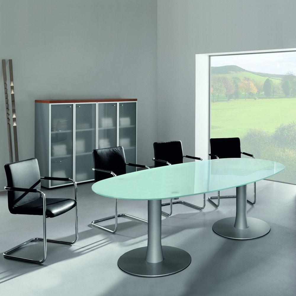 Glass meet tavolo da riunione ovale con piano in vetro for Tavolo ovale in vetro allungabile