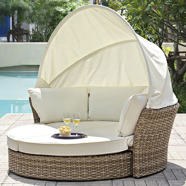 Salpi: Garden daybed in synthetic rattan with packable ...